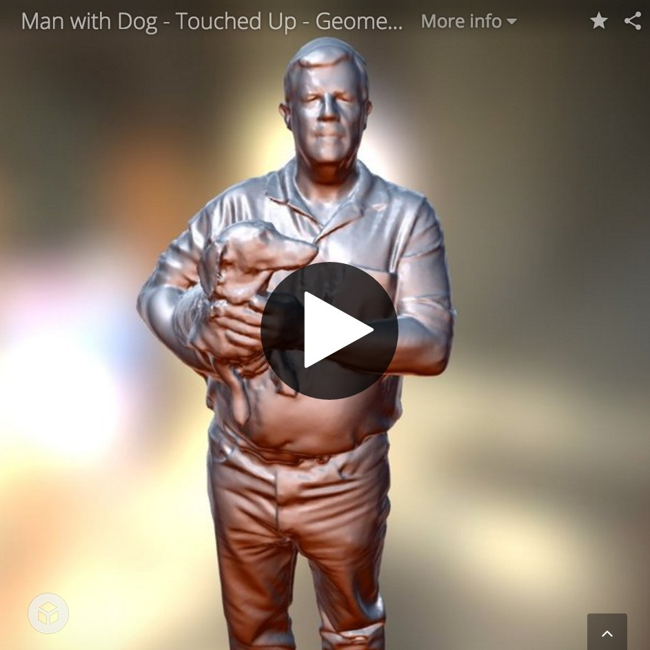 3D printed miniature of guy with dogs.