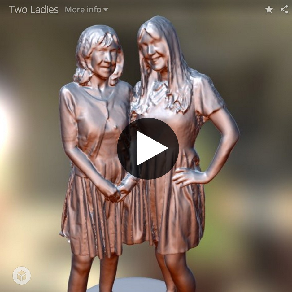 3D printed miniature of 2 girls.
