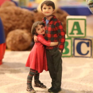 Siblings 3d printed figurine,3D portrait of kids, 3d selfie